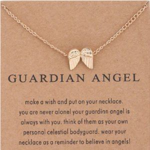 Gold Dipped Guardian Angel Wish Necklace